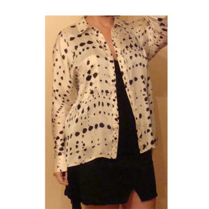 Topshop polka dot splatter button shirt blouse 8